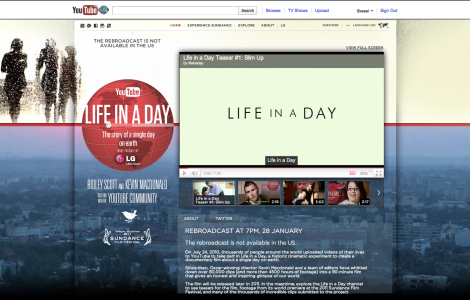 NEWS: Life in a Day Movie Rebroadcast – 7pm Tonight!
